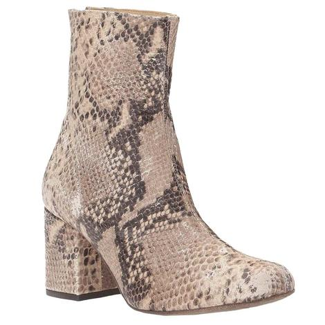 Free People Cecile Snakeskin Print Ankle Boots
