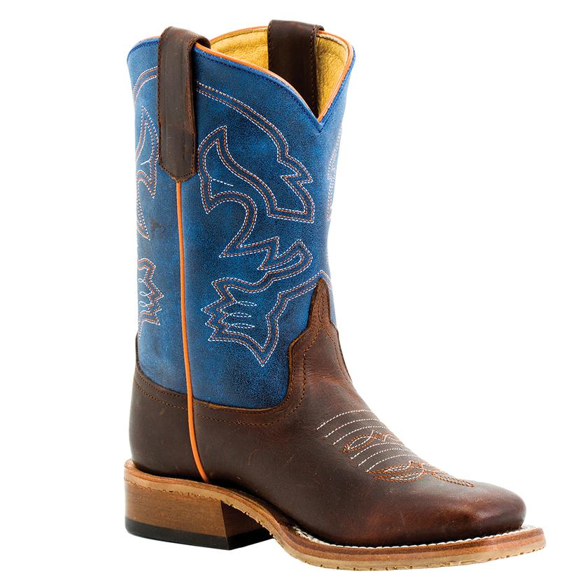 Anderson Bean Blue Mad Dog Top Brown Bison Kid Boots - Kid Sizes 9- 13, 1- 3