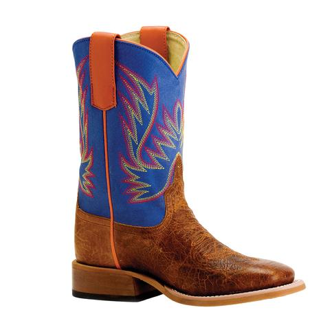 Horse Power Havana Bullfrog Blue and Orange Youth Boots - Youth Sizes 4-6