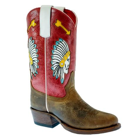 Macie Bean Indian Chief Rodeo Red Kid Boots - Kid Sizes 9-13, 1-3