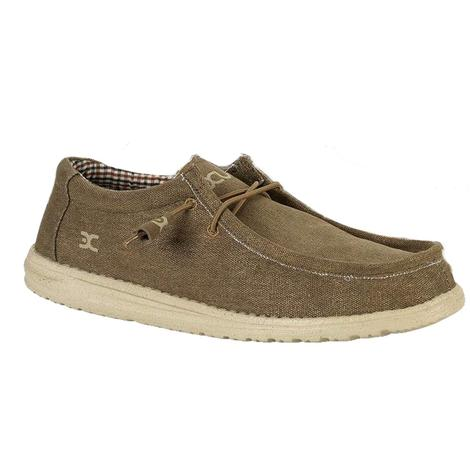 Hey Dude Wally Nut Canvas Lace Up Men's Shoes