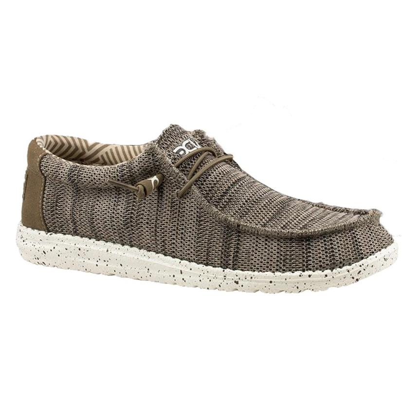 Hey Dude Wally Sox Brown Canvas Lace Up Men's Shoes