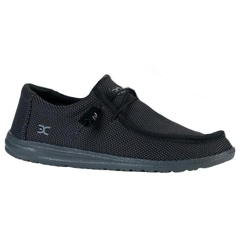 Hey Dude Wally Sox Black Lace Up Men's Shoes