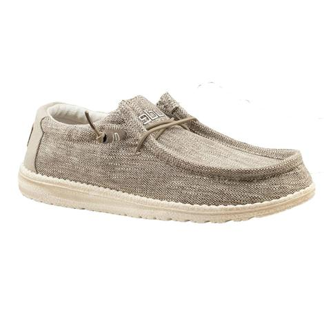 Hey Dude Wally Woven Beige Lace Up Men's Shoes