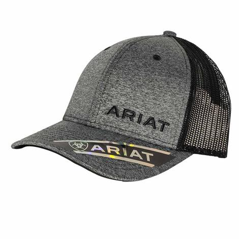 Ariat Heather Grey Black Logo Meshback Cap