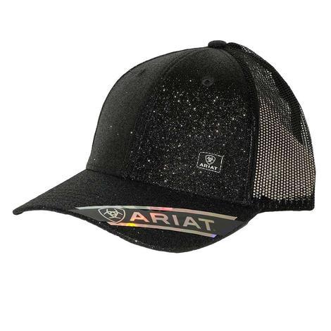 Ariat Black Sparkle Messy Bun Meshback Cap