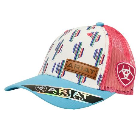 Ariat Multi Cactus White Hot Pink Turquoise Youth Cap