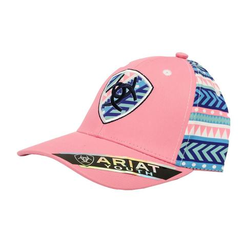 Ariat Pink Aztec Snapback Youth Cap