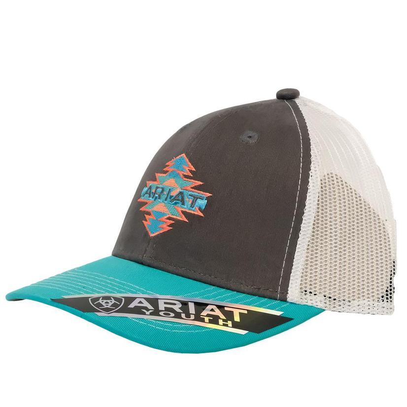 Ariat Heather Grey And Turquoise Meshback Youth Cap