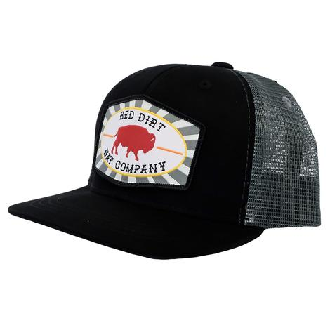 Red Dirt Hat Company Black and Charcoal Red Buffalo Patch Youth Cap