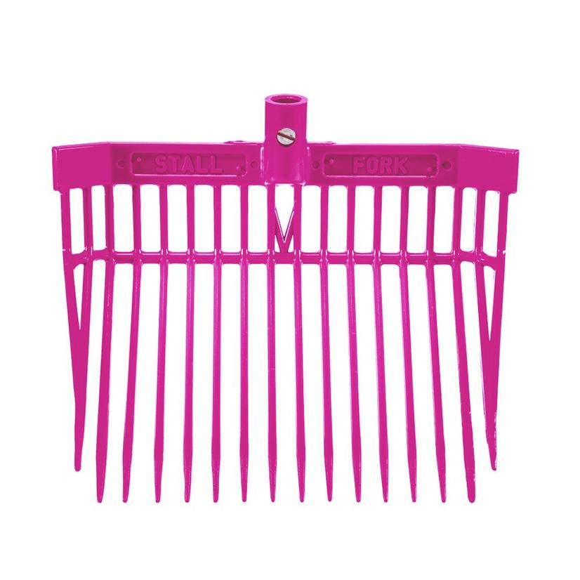 Angled Stall Fork - Complete Fork and Handle PINK