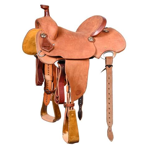 STT Single Skirt Full Roughout Team Roping Saddle