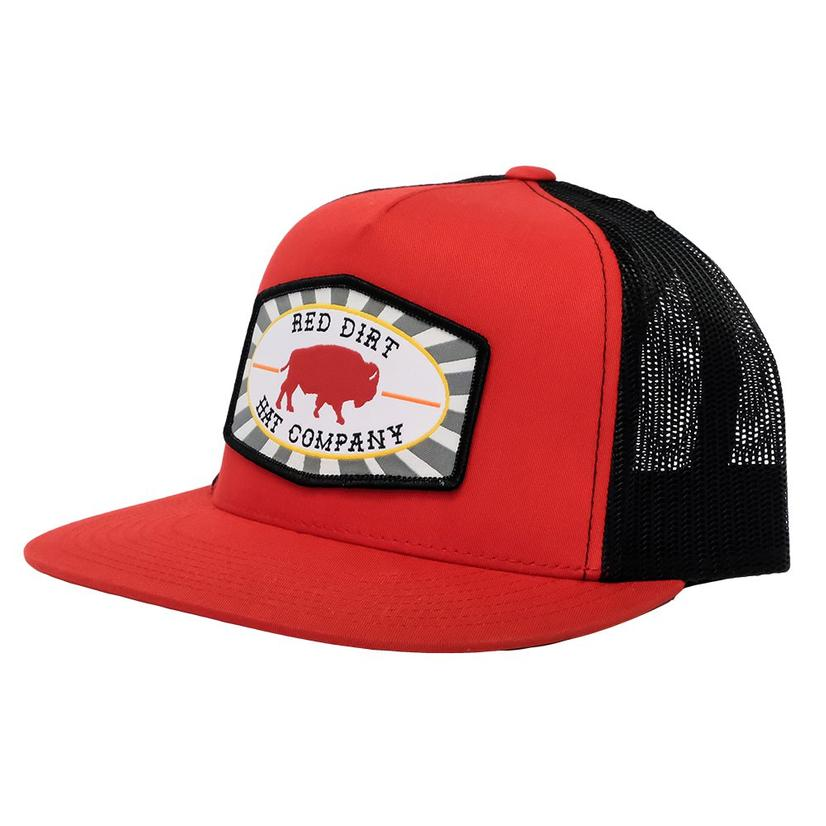 cd1c74b617520 Red Dirt Hat Co. Red Black Buffalo Patch Meshback Cap