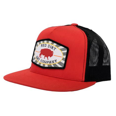 Red Dirt Hat Co. Red Black Buffalo Patch Meshback Cap
