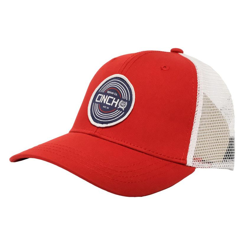 Cinch Red White Patch Meshback Cap