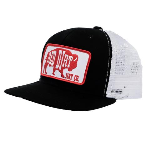 Red Dirt Black White Buffalo Patch Meshback Cap