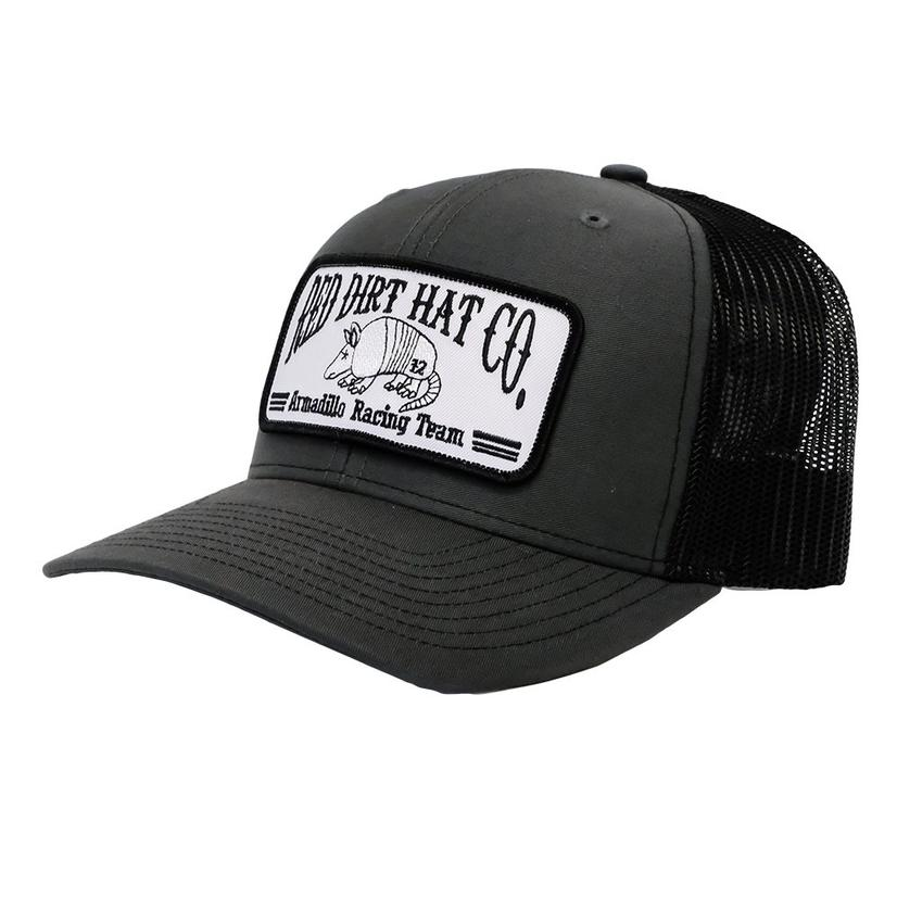 Red Dirt Hat Co.Charcoal Black Armadillo Patch Meshback Cap