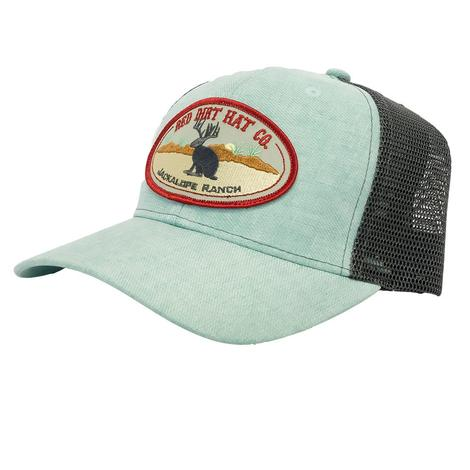 Red Dirt Hat Co. Heather Green Charcoal Jackalope Patch Meshback Cap
