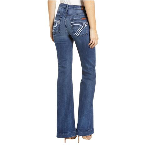 7 for All Mankind Womens Lake Blue Dojo Trouser Jeans