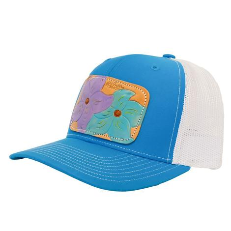 Miranda McIntire Turquoise Leather Flower Patch Meshback Cap