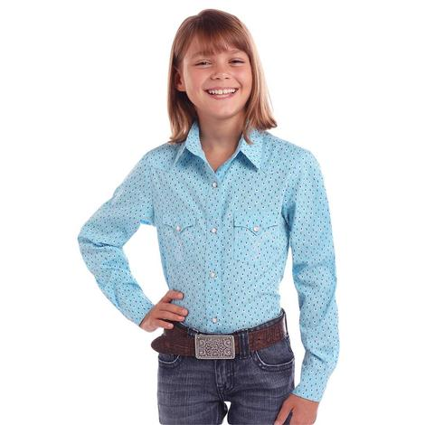 Panhandle Light Turquoise Print Long Sleeve Girl's Snap Shirt