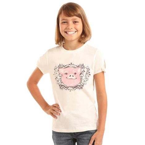 Panhandle Natural Pig Print Short Sleeve Girl's Tee
