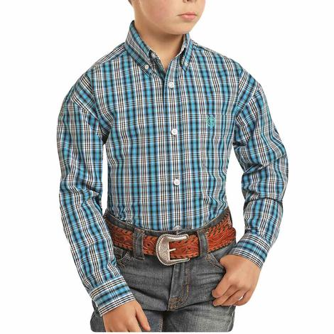 Panhandle Blue Black Plaid Long Sleeve Button Down Boy's Shirt
