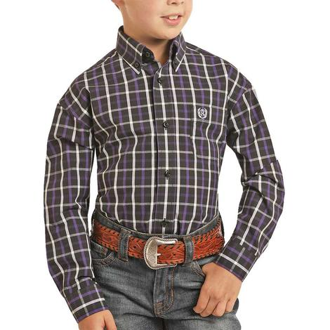 Panhandle Black Purple Plaid Long Sleeve Button Down Boy's Shirt