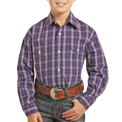 Panhandle Purple Plaid Long Sleeve Boy's Snap Shirt