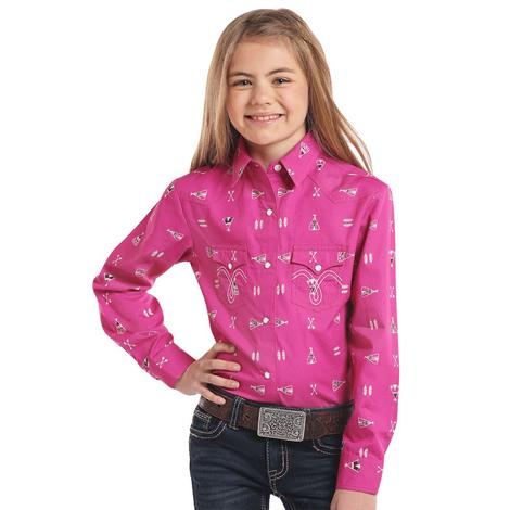 Panhandle Fuchsia Teepee Long Sleeve Girl's Snap Shirt