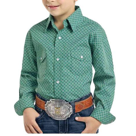 Panhandle Green Print Long Sleeve Boy's Snap Shirt