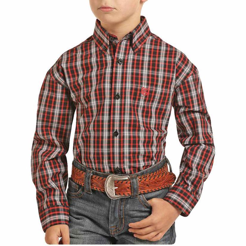 Panhandle Red Black Plaid Long Sleeve Boy's Button Down Shirt