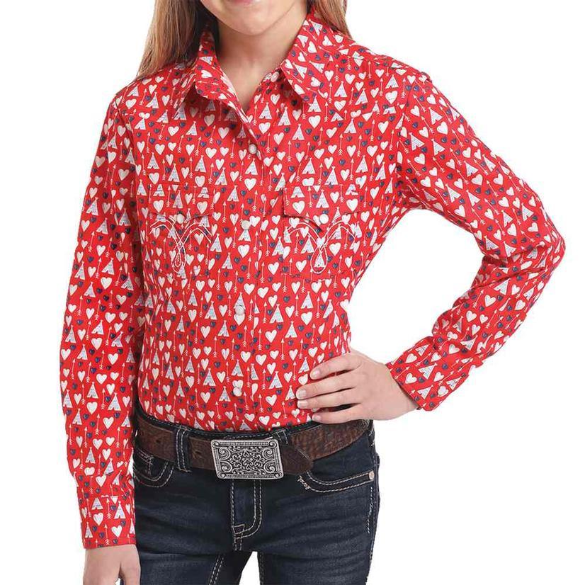 Panhandle Redhearts Print Long Sleeve Girl's Button Down Shirt