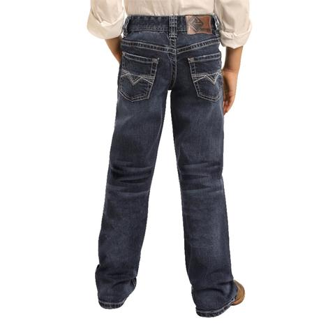 Rock and Roll Cowboy Dark Wash Bootcut Boy's Jeans