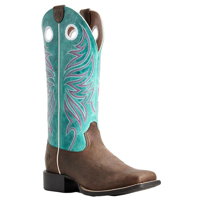 Ariat Round Up Ryder Brown Blue Top Women's Boots