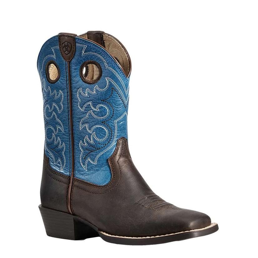 Ariat Crossfire Toffee Brown And Blue Boy's Boots