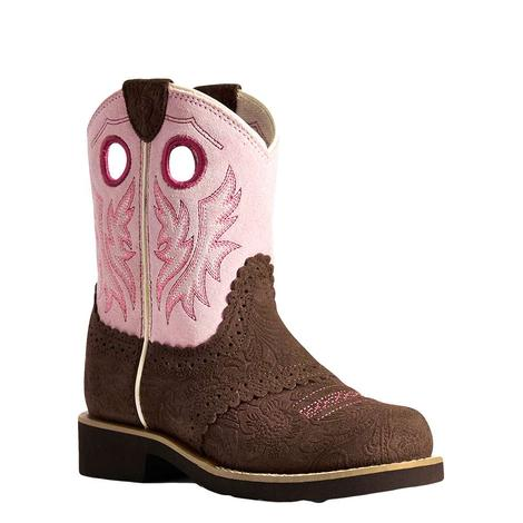 Ariat Pink and Brown Girl's Fatbaby Boots