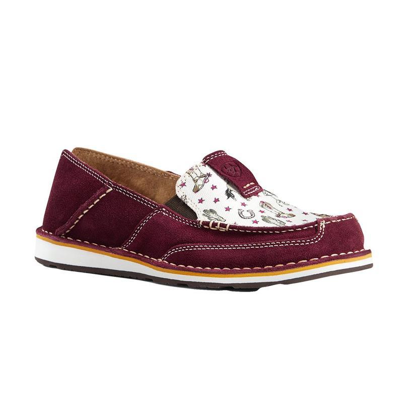 Ariat Burgundy Cowgirl Print Women's Cruiser Shoes