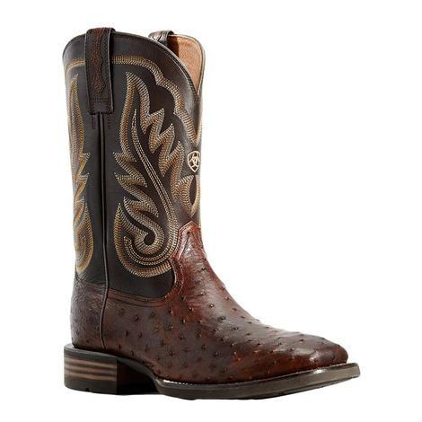 Ariat Promoter Brown Full Quill Ostrich Men's Boots
