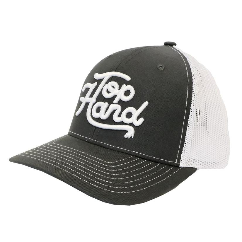 Top Hand Rope Gray White Script Meshback Cap