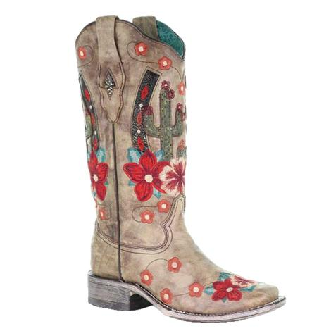 Corral Tan Cactus Horseshoe Floral Embroidered Women's Boots