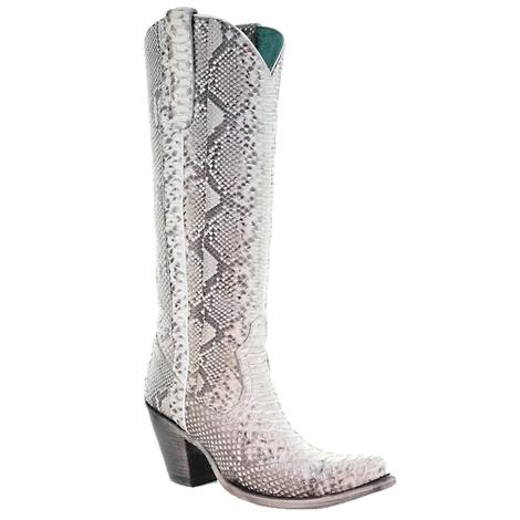 Corral Natural Python Zipper Tall Top Women's Boots