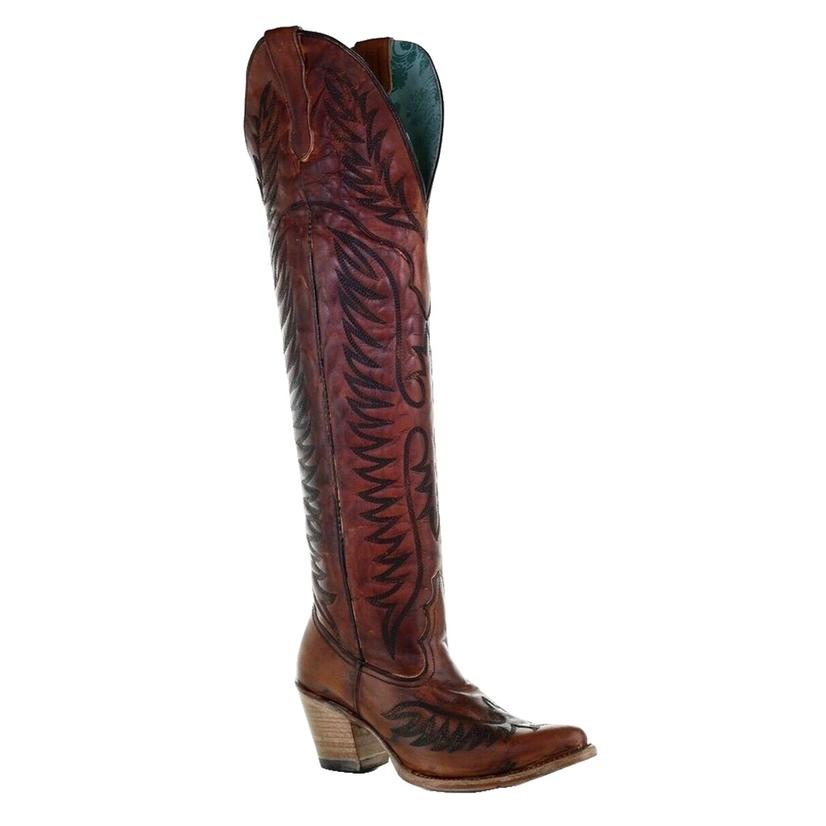 Corral Cognac Embroidered Tall Top Women's Boots