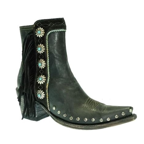 Double D Ranchwear Apache Kid Black Shortie Women's Boots