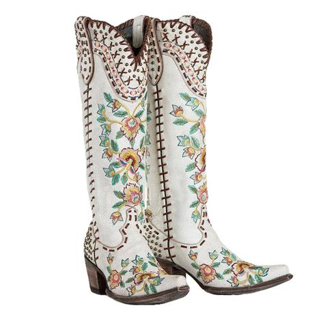 Double D Ranch Almost Famous Floral Ivory Tall Top Women's Boots