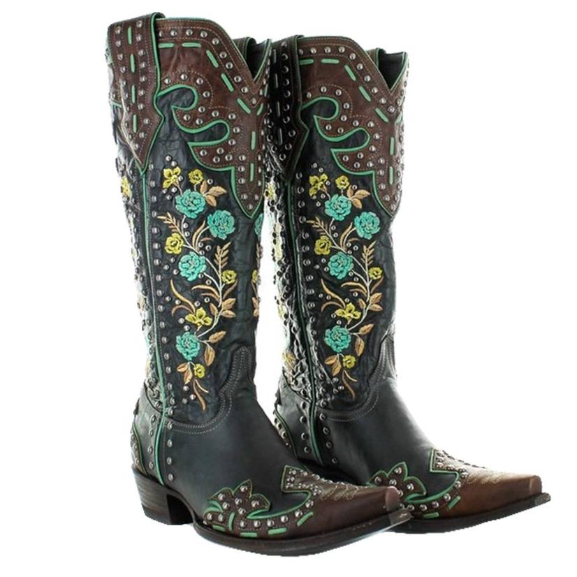 Double D Ranchwear Round Up Rosie Floral Blue Women's Boots
