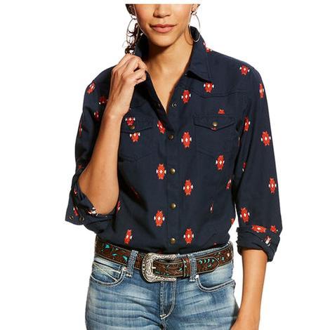 Ariat Real Mesmeric Navy Snap Women's Long Sleeve Shirt