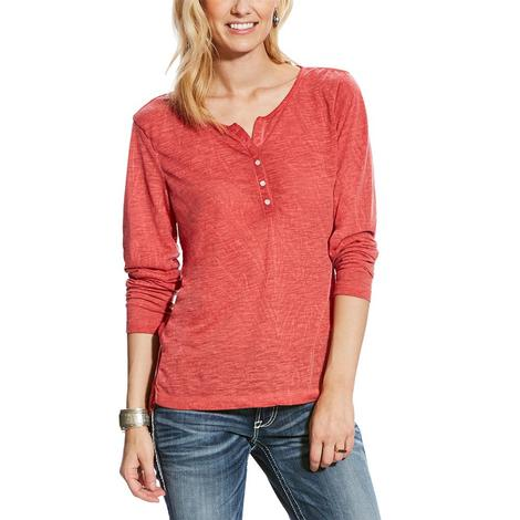 Ariat Harvest Henley Red Madder Women's Top