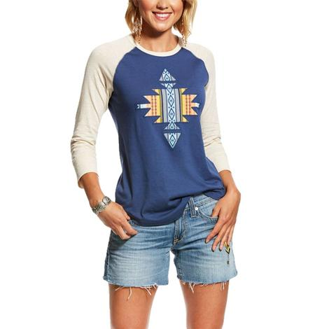 Ariat Aztec Raglan Navy and White Long Sleeve Women's Tee