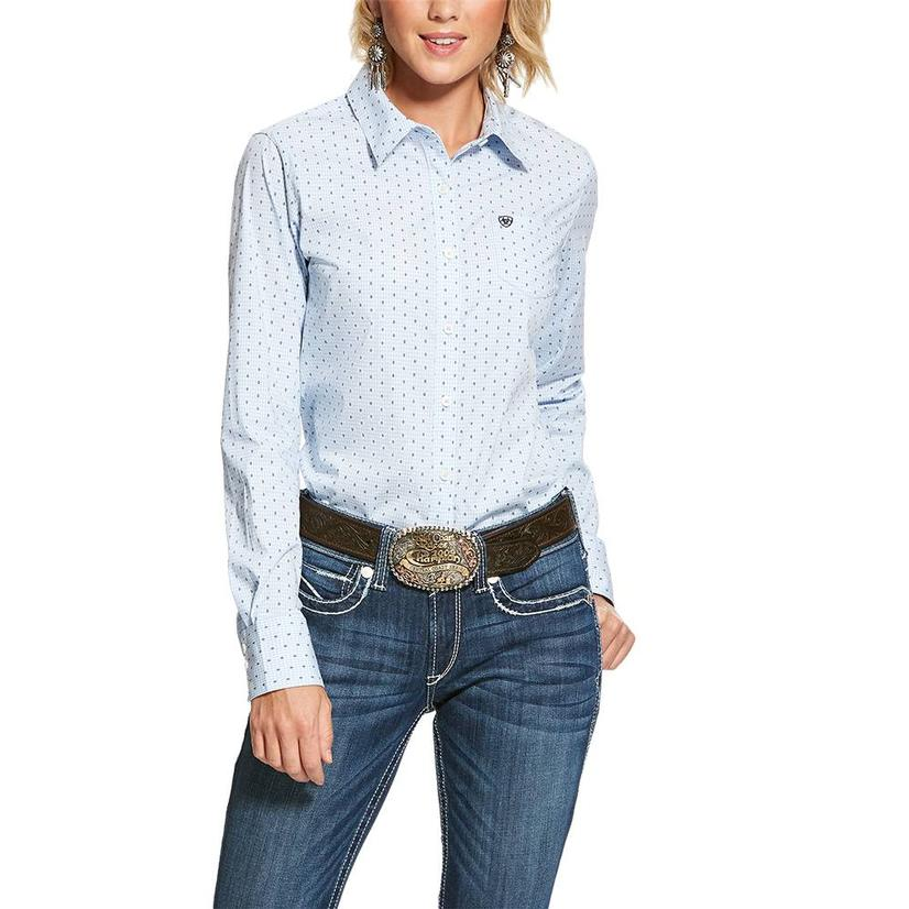 Ariat Kirby Stretch Blue Fleck Long Sleeve Button Down Women's Shirt Extended Sizes